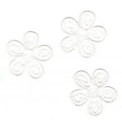 Ecusson Thermocollant 3 Petites Fleurs Coloris Blanc 4 x 4 cm