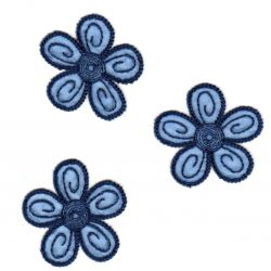 Ecusson Thermocollant 3 Petites Fleurs Coloris Bleu 4 x 4 cm