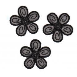 Ecusson Thermocollant 3 Petites Fleurs Coloris Noir 4 x 4 cm