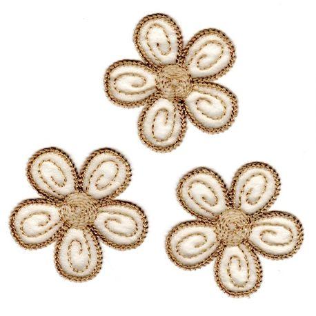 Ecusson Thermocollant 3 Petites Fleurs Coloris Beige 4 x 4 cm