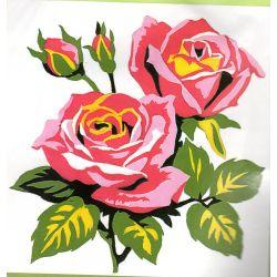 Kit Canevas Jolies Roses 14 x 14 cm Petits trous