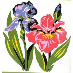 Kit Canevas Les Iris 14 x 14 cm Petits trous