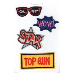 Lot de 4 Ecussons Thermocollants Lunettes Star Wow Top Gun