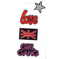 Lot de 4 Ecussons Thermocollants Etoile Love Union Jack Girl Gang