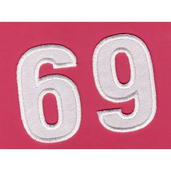 Ecusson Thermocollant Chiffre Numéro 6 ou 9 Coloris Blanc 3 x 5 cm