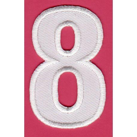 Ecusson Thermocollant Chiffre Numéro 8 Coloris Blanc 3 x 5 cm