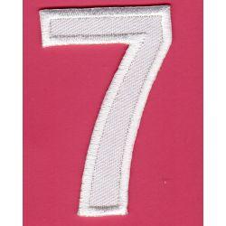 Ecusson Thermocollant Chiffre Numéro 7 Coloris Blanc 3 x 5 cm