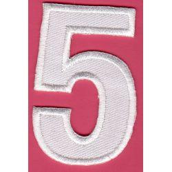 Ecusson Thermocollant Chiffre Numéro 5 Coloris Blanc 3 x 5 cm