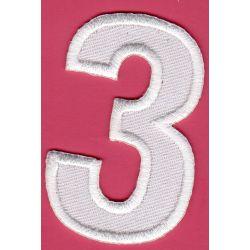 Ecusson Thermocollant Chiffre Numéro 3 Coloris Blanc 3 x 5 cm