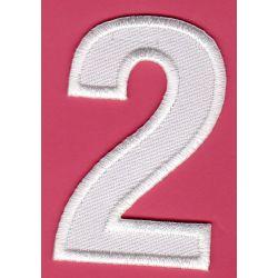 Ecusson Thermocollant Chiffre Numéro 2 Coloris Blanc 3 x 5 cm