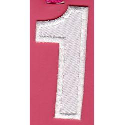 Ecusson Thermocollant Chiffre Numéro 1 Coloris Blanc 2,30 x 5 cm