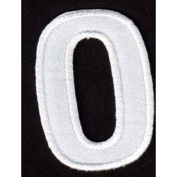 Ecusson Thermocollant Chiffre Numéro 0 Coloris Blanc 3 x 5 cm