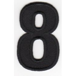 Ecusson Thermocollant Chiffre Numéro 8 Coloris Noir 3 x 5 cm