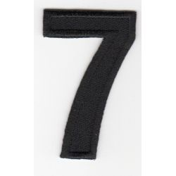 Ecusson Thermocollant Chiffre Numéro 7 Coloris Noir 3 x 5 cm