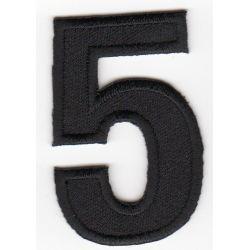 Ecusson Thermocollant Chiffre Numéro 5 Coloris Noir 3 x 5 cm