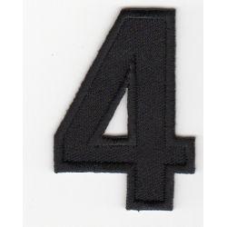 Ecusson Thermocollant Chiffre Numéro 4 Coloris Noir 3 x 5 cm