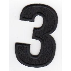 Ecusson Thermocollant Chiffre Numéro 3 Coloris Noir 3 x 5 cm
