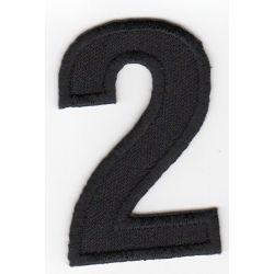 Ecusson Thermocollant Chiffre Numéro 2 Coloris Noir 3 x 5 cm