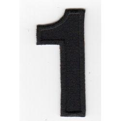 Ecusson Thermocollant Chiffre Numéro 1 Coloris Noir 2,30 x 5 cm