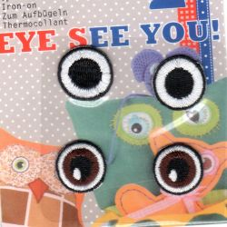 Ecusson Thermocollant 2 paires d' YEUX ronds 2 x 2 cm chaque oeil