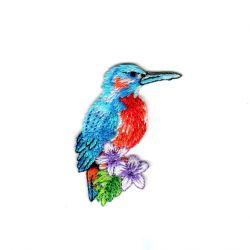 Ecusson Thermocollant Oiseau Tropical Coloris Bleu 3 x 5 cm
