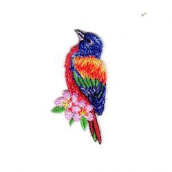 Ecusson Thermocollant Oiseau Tropical Coloris Violet 2,50 x 5,50 cm
