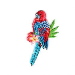 Ecusson Thermocollant Perroquet Coloris Bleu et Rouge 3 x 6 cm