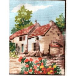 Kit Canevas Maison en Provence B 14 x 18 cm Pénélope Blanc Petits Trous