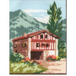 Kit Canevas Maison à la Montagne C 14 x 18 cm Pénélope Blanc Petits Trous
