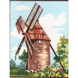 Kit Canevas Moulin en Provence F 14 x 18 cm Pénélope Blanc Petits Trous