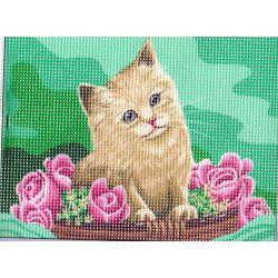 Kit Canevas Le Chat aux Roses 15 x 20 cm