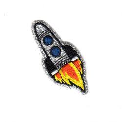 Ecusson Thermocollant Fusée de l'Espace 2,50 x 6 cm Brillant