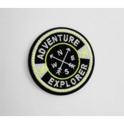 Ecusson Thermocollant Boussole Adventure Explorer Jaune Luminescent 5 x 5 cm