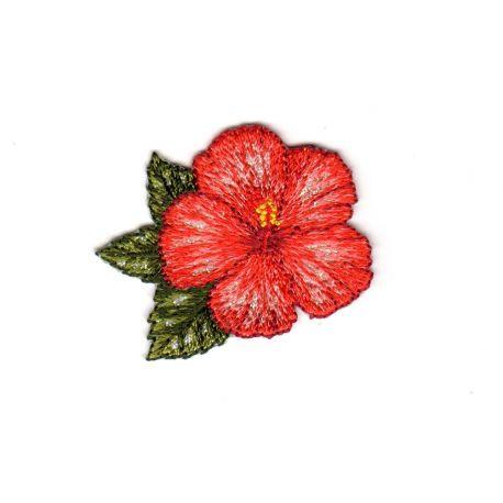 Ecusson Thermocollant Fleur Hibiscus 4 x 4,50 cm