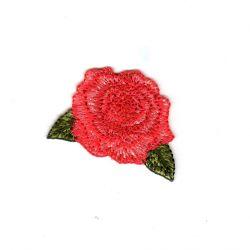 Ecusson Thermocollant Fleur Rose 3,50 x 4,50 cm