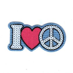Ecusson Thermocollant I Love Sequins 3,50 x 6,50 cm