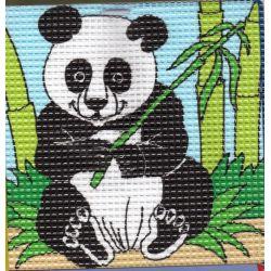 Kit Canevas Panda 16 x 16 cm Gros trous