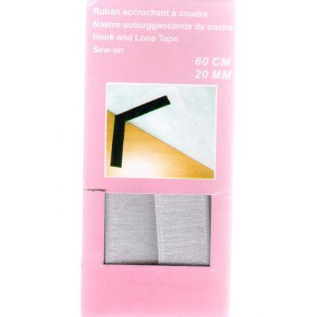 Ruban Accrochant A Coudre type Velcro 2 cm de large 60 cm de long Coloris Blanc