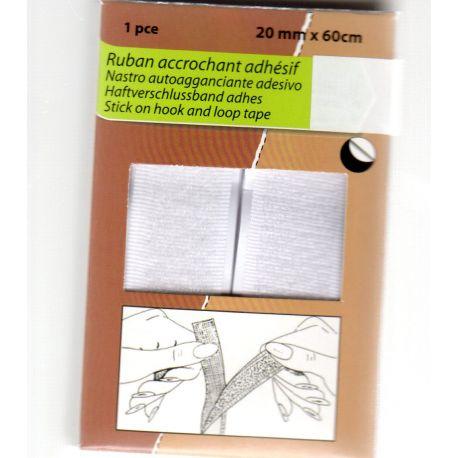 Ruban Accrochant Adhésif Autocollant type Velcro 2 cm de large 60 cm de long Coloris Blanc