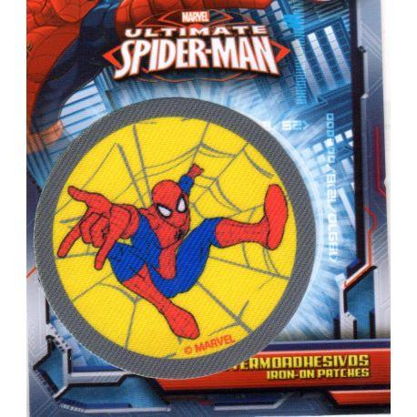 Ecusson Thermocollant Spider Man Fond Jaune 6,50 x 6,50 cm