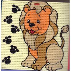 Kit Canevas Lion 16 x 16 cm Gros trous