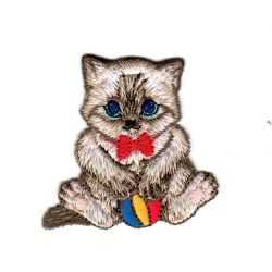 Ecusson Thermocollant Chat Chaton Balle 5 x 5,50 cm