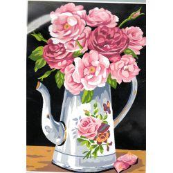 Kit Canevas Roses dans le Pichet 22 x 33 cm