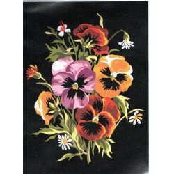 Kit Canevas Bouquet de Pensées 22 x 33 cm