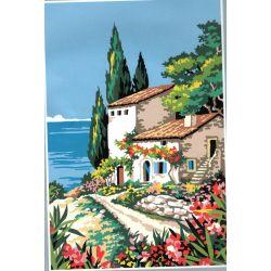 Kit Canevas Le Sud Villa fleurie sur la Mer 22 x 33 cm