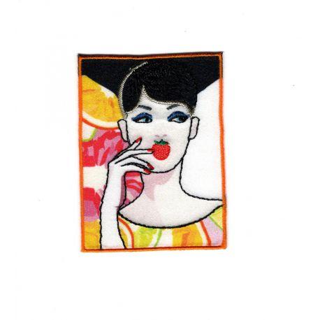 Ecusson Thermocollant Femme Mode Fruit Fleur 5 x 7 cm