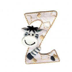 Ecusson Thermocollant Lettre Z Animaux Coloris Ecru 5 cm Fin de série
