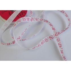 RUBAN Blanc et Rouge 10 mm Petits Animaux 2 Mètres