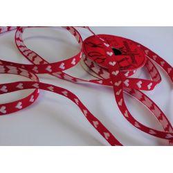 RUBAN Rouge 10 mm Petits Coeurs 2 Mètres