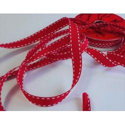 RUBAN Rouge 10 mm Liseré Blanc 2 Mètres
